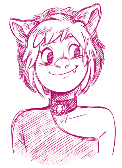Grim drew me another one! Look how cute Hel is!!