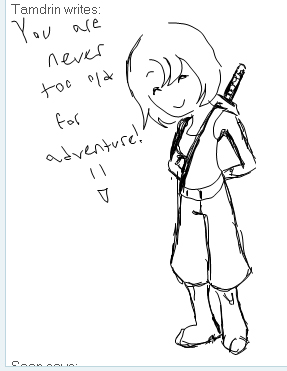 Tamdrin-chan drew this on messenger! What a great job! This time Mizu's sword is on the correct side X3
